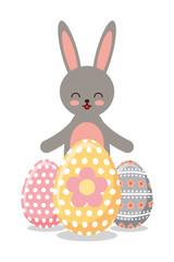 gray happy rabbit eggs ornament decoration vector illustration