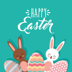 brown and white bunnies and decorative eggs happy easter vector illustration