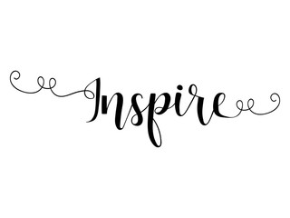 Inspire. lettering. Ink illustration. Modern brush calligraphy.