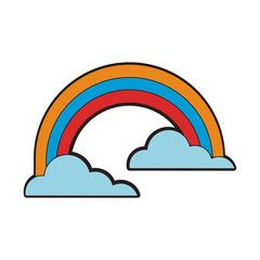Rainbow and clouds line icon vector illustration graphic