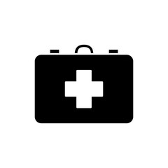 Monochrome first aid kit icon in flat style. Isolated first aid kit icon for use in variety of projects. Black and white vector first aid kit icon for web sites and apps.
