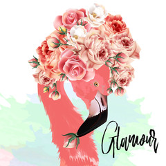 Beautiful fashion vector illustration with pink flamingo and roses
