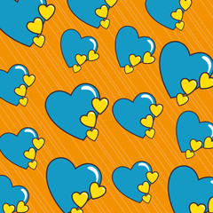 hearts love sticker pattern background vector illustration design