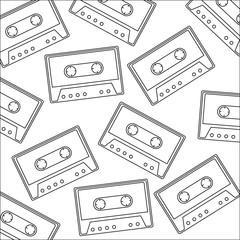 retro cassette sticker pattern background vector illustration design