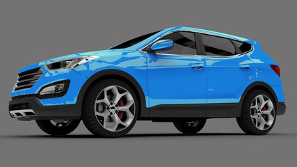 Compact city crossover blue color on a gray background. 3d rendering.