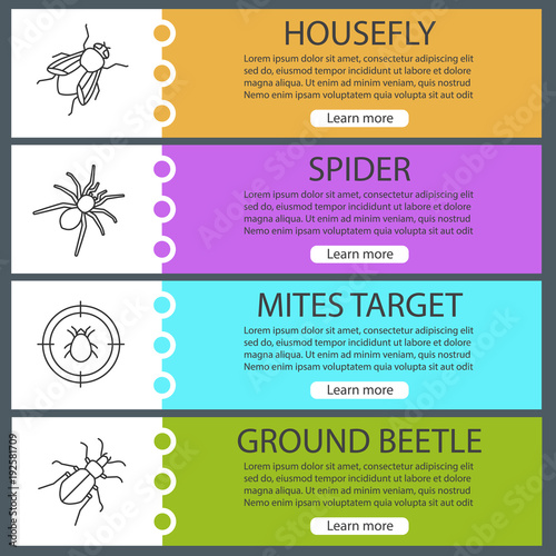 Pest control web banner templates set\
