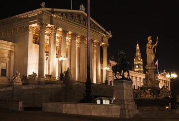 Austrian Parliament, night photo
