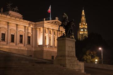 Night photo of Austrian Parliament house