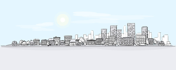 Flat vector cartoon illustration of hand drawing urban landscape with skyline, city office buildings and family houses in small town village in background. Layered doodle pen or pencil line sketch.