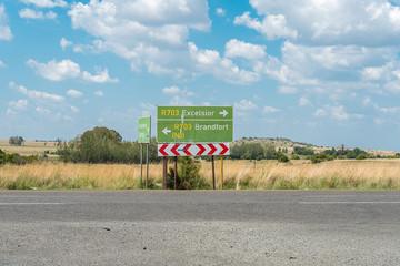 Directional road signs on the R703-road at Verkeerdevlei