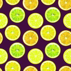 Orange, lime and lemon, seamless pattern design, hand painted watercolor illustration, dark purple background