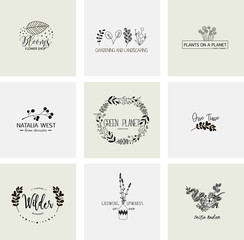 Flower logo templates collection in vector. Handdrawn floral logotypes for a small business