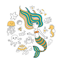 Cute little mermaid with sea animals. Under the sea vector illustration