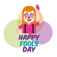 portrait woman clown mask celebration fools day circles background vector illustration