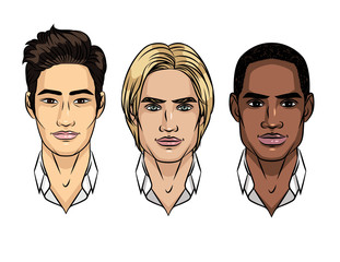 Vector set of men's faces different nationalities. Asian, european, african American type of people appearance. Avatar for different races men