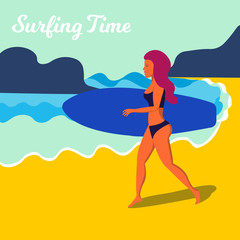 Running Girl with a blue surfing board. Vector illustration.