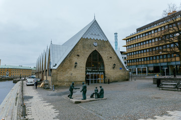 Gothenburg / Sweden - January 2018: Feskekorka (Fish church) is an indoor fish market, which got its name from the building's resemblance to a Neo-gothic church