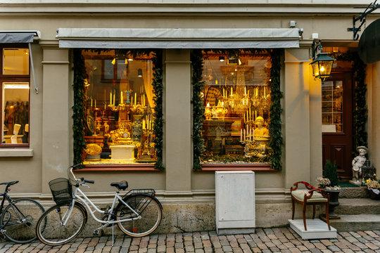 Vintage shop display windowin Gothenburg, Sweden