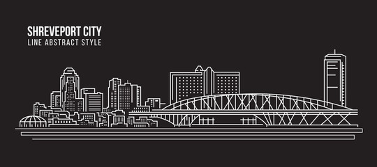 Cityscape Building Line art Vector Illustration design - Shreveport city Fotomurales