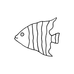 Linear cartoon hand drawn fish symbol. Cute vector black and white fish symbol. Isolated monochrome doodle fish symbol on white background.