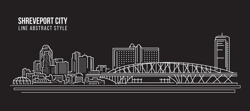 Cityscape Building Line art Vector Illustration design - Shreveport city