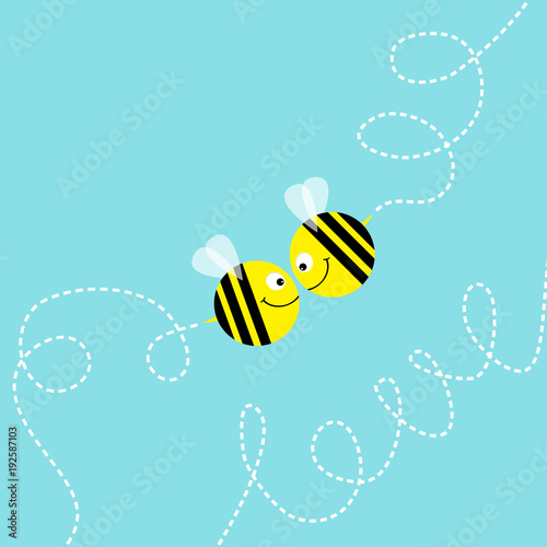 a8ed4ba775c8 Flying bee kissing couple in the sky. Cute cartoon funny fat ...