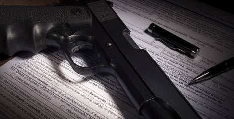 Gun background check with dishonorable discharge exclusion highlighted