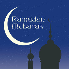 Ramadan mubarak, with mosque, minaret, crescent moon and night sky with stars. For greeting card or or similar. Vector illustration.
