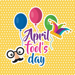 april fools day face mustache balloons jester hat poster vector illustration