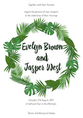 Wedding Invitation, floral invite card Design with green tropical forest palm tree leaves, forest fern greenery simple, round border print. Vector cute garden greeting