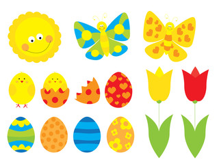 Cute Easter cartoon elements collection with easter eggs,,tulips, easter chicks, butterflies and sun / vectors set for children on white background