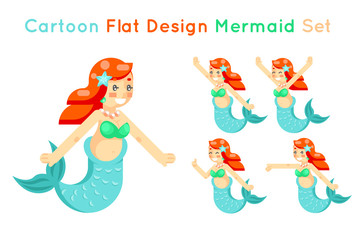 Cartoon cute mermaid girls set flat design isolated icons vector illustration