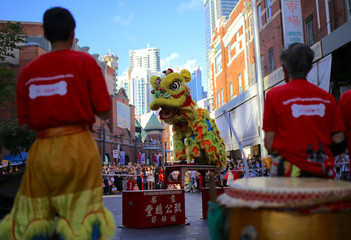 Performers dressed in costumes dance for spectators as part of celebrations for the Chinese Lunar New Year and marking the Year of the Dog in Sydney