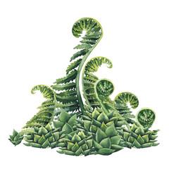 Watercolor prehistoric plants