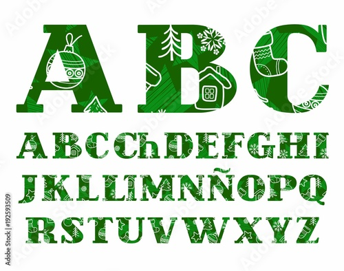 new year spanish font winter green vector capital letters of the spanish