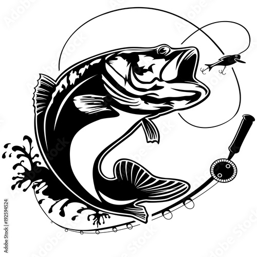fishing bass logo isolated stock image and royalty free vector