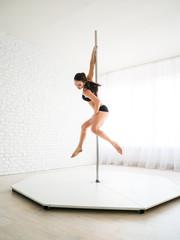 Girl pole dance sports, beautiful sportswoman