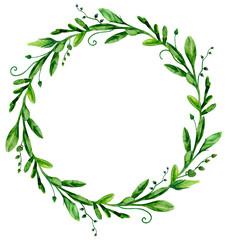Watercolor greenery wreath frame. Green arrangement clip art