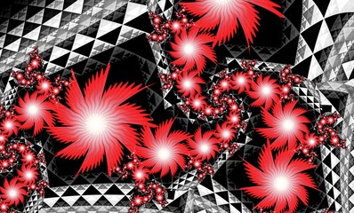 Computer generated 3D floral fractal.Red exotic flowers with white veins on black abstract background with triangles.Wallpapers for your desktop.