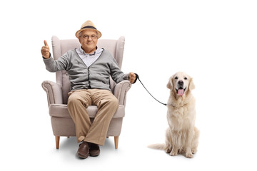 Mature man with a labrador retriever dog sitting in an armchair and making a thumb up sign