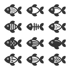Fish Icons Set on White Background. Vector