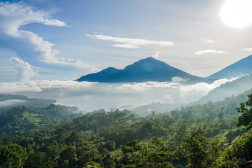Mount Batur on the island of Bali. Rice fields. The photo is taken above the clouds.