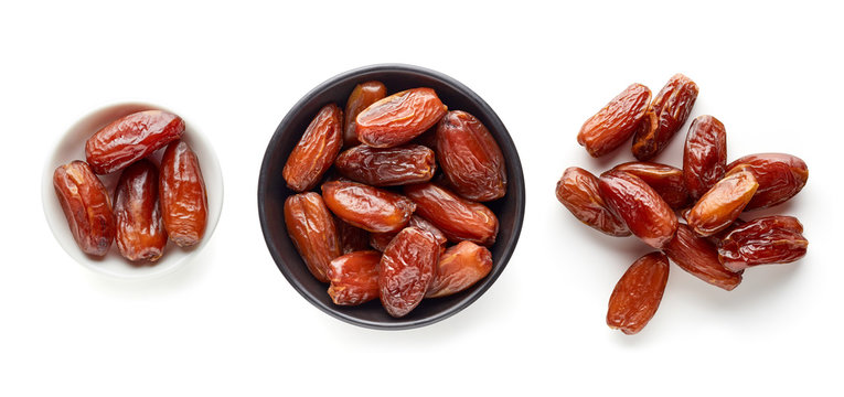 Pitted dates isolated on white from above