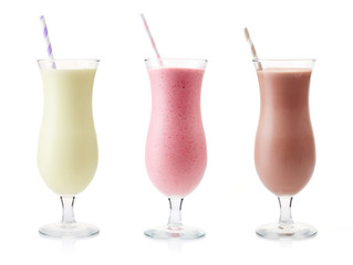 Fotobehang Milkshake Vanilla, Strawberry and Chocolate milkshake