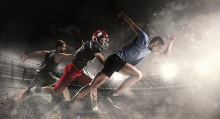 Multi sports collage about basketball, run, American football players at stadium
