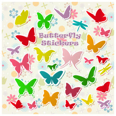 Set of vector butterfly labels on a light background