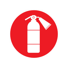 White fire extinguisher icon on red circle. Vector.