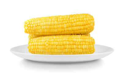 corn in plate isolated on white background