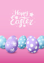Easter card with color decorated eggs
