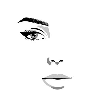 Glamour fashion beauty woman face illustration. Half of female face with one eye and make-up in watercolor style. Vector watercolor illustration isolated on white background